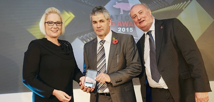 Herd Productivity Award – sponsored by Huvepharma. Won by Countess Wells Breeding from Suffolk; a 700-plus sow, farrow-to-finish unit. Pictured are (left to right): Huvepharma's country manager for the UK & Ireland, Lydia Parkin, Robin Brice and Alan Dedicoat