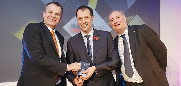 Technical Innovation of the Year – sponsored by Devenish. Won by BQP, which has reacted to increasing pressure to reduce in-feed medication and antibiotic use in general by working with its producers to deliver medication to pigs accurately and safely via the Dosing Solutions water dosing system and General Alerts monitoring system. Pictured are (left to right): Devenish pig sector director Aidan O'Toole, Mark Jagger of BQP and Alan Dedicoat