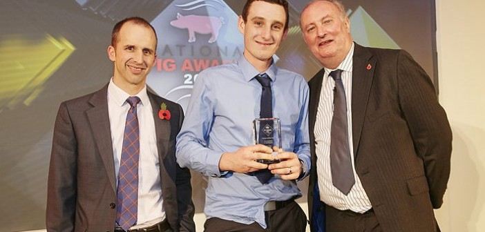 Trainee of the Year – sponsored by Zoetis. Darren Kent, who works for the Essex-based, family-owned business P Pitt Farms. Pictured are (left to right): Zoetis pig and poultry business unit manager Ben Lacey, Darren Kent and Alan Dedicoat