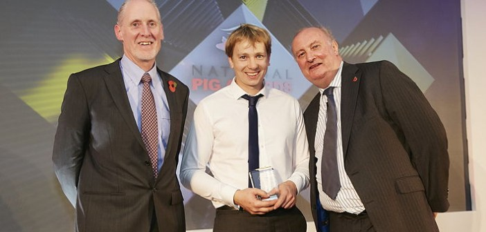 Young Pig Farmer of the Year – sponsored by Boehringer Ingelheim. Won by David Gibbons of B&HB Gibbons, who manages his family's unit in Lancashire. Pictured are (left to right): Boehringer Ingelheim's swine business unit manager, David Strachan, David Gibbons and Alan Dedicoat