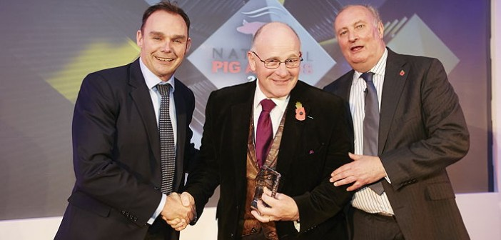 NPA AIG Member of the Year Award – sponsored organised in association with the National Pig Association. Won by Farmex, which through Hugh Crabtree and previously Nick Bird as well, has continuously encouraged the industry to monitor pigs so they can manage them more effectively. Pictured are (left to right): NPA chairman Richard Lister, Hugh Crabtree and Alan Dedicoat