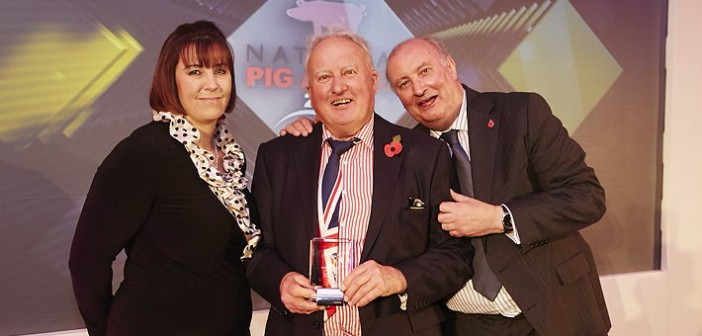 Pedigree Breeder of the Year – sponsored by Ceva Animal Health. Won by John Millard from Hygene Pigs, whose herd includes Large Whites, Welsh, Duroc and Landrace bloodlines. Pictured are (left to right): Ceva poultry & swine product manager Fiona Wright, John Millard and Alan Dedicoat