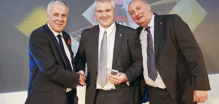 Unit Manager of the Year – organised in association withby AHDB Pork. Won by Duncan Hodgkinson from M&J Heath, who manages a 560-sow indoor breeder/, finisher site in Shropshire. Pictured are (left to right): AHDB Pork's head of R&D and knowledge exchange, Nigel Penlington, Duncan Hodgkinson and Alan Dedicoat