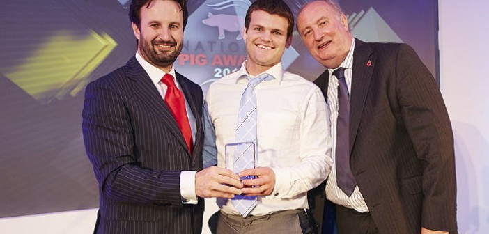Stockman of the Year – sponsored by MSD Animal Health. Won by James Brice from Countess Wells Breeding, who is assistant manager and head of farrowing at this 720-sow unit in Suffolk. Pictured are (left to right): MSD Animal Health UK pigs business manager, Nick Munce, James Brice and Alan Dedicoat
