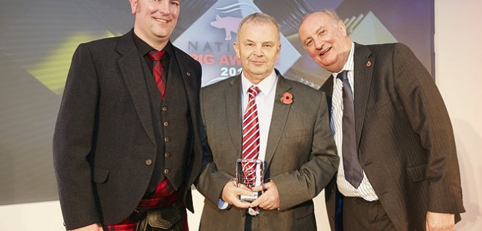 Investor in Training Award – sponsored by Meadow Quality. Won by Wayland Farms, which employs 109 staff and operates training geared to the individual as well as to what is needed by the business. Pictured are (left to right): Meadow Quality's North-east account manager, Ryan Noble, Colin Stone and Alan Dedicoat