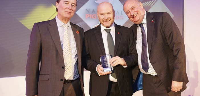 Producer Retailer of the Year – sponsored by Rattlerow Farms. Won by Kenniford Farm, which has 350 Hermitage Seaborough sows and Fsells pigs to processors, a wholesale butcher and also back to its own retail business. Pictured are (left to right): Rattlerow joint managing director Robert Lawson, Andrew Freemantle and Alan Dedicoat