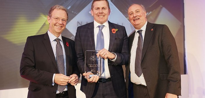 Indoor Producer of the Year and overall Producer of the Year – sponsored by ForFarmers. Won by RC&VE Buckle, which has invested heavily in its operation in the past 18 months, going from 720 sows to 1,040.  Pictured are (left to right): Jonathan Farnhill, Rick Buckle and Alan Dedicoat