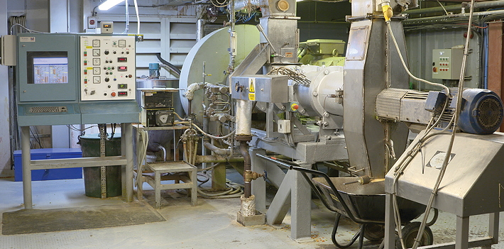 The extruder at ForFarmers' Bury St Edmunds mill uses a combination of heat, pressure and moisture to break up the starch molecules  in wheat, oats and soya beans