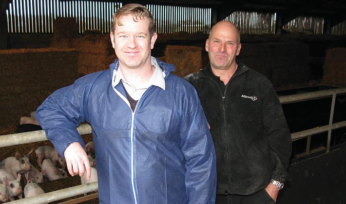 James Doel of AQM (left) and FS Peake & Son pig manager Douglas Goddard