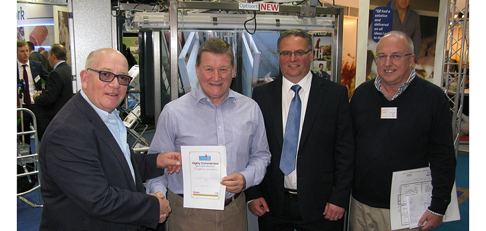 John Richardson accepts the Highly Commended certificate from John Lewis as Jamie Baker from Quality Equipment and Luc Geirnaert from Hölscher+Leuschner look on