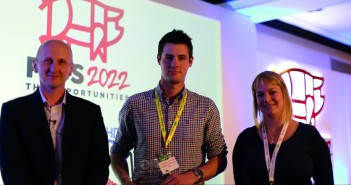 UK Innovative Producer award winner Matt Donald, conference chair Alistair Driver and AHDB Pork's Charlotte Evans