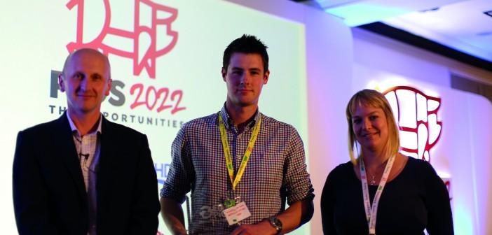 UK Innovative Producer award winner Matt Donald, conference chair Alistair Driver and AHDB Pork's Charlotte Evans