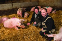 Patrick Stephen on his pig farm near Inverurie, with unit manager Wayne Ducker