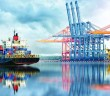 Docks and container ship