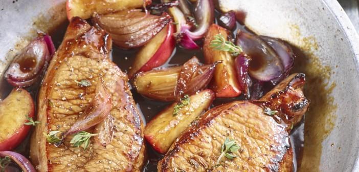pick pork Loin Steaks with apples