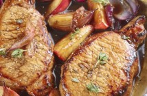 pick pork Loin Steaks with apples