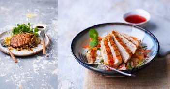 Japanese Caramelised Pork with Vegetable Spaghetti (left) and Vietnamese Pork with Jasmine Rice