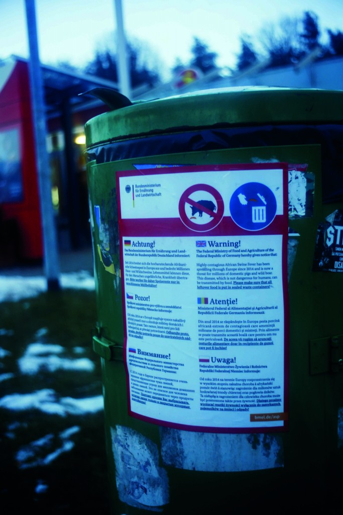 Public warnings have been posted across Germany, urging consumers to dispose of food waste in sealed containers