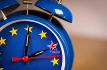 Retro alarm EU clock representing the countdown until Brexit.