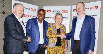 Pictured (left to right) are: Michael Maguire, East African director, Devenish; Anthony Wainaina, managing director, Sidai; Dr Christie Peacock, CBE, founder and director of Sidai; and Owen Brennan, chairman, Devenish
