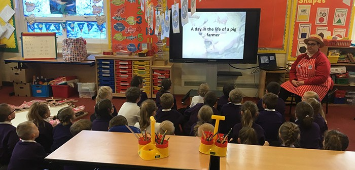 Debbie Wilson, LIPS chairwoman, helps spread the pork message at Mablethorpe Primary School, in Lincolnshire