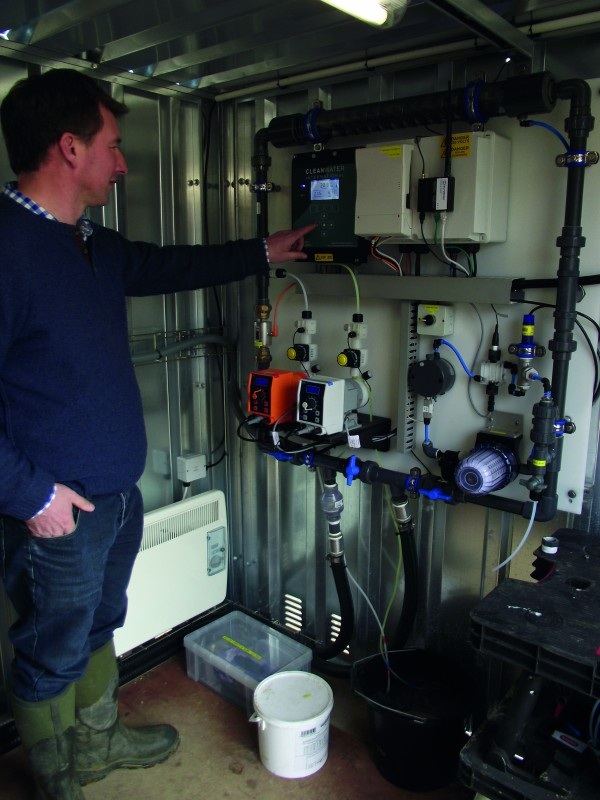 Tom Neat, inside the containerised Merlin treatment plant, says the technology offers all pig farmers a no-nonsense, hassle-free means of controlling water quality