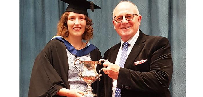 Olivia Hartshorn was presented with the Nick Bird Award by Farmex managing director, Hugh Crabtree