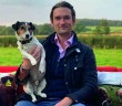 Joe Stanley with Ted on the BBC Breakfast sofa at his farm
