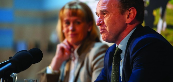 George Eustice and Minette Batters at the 2020 NFU Conference
