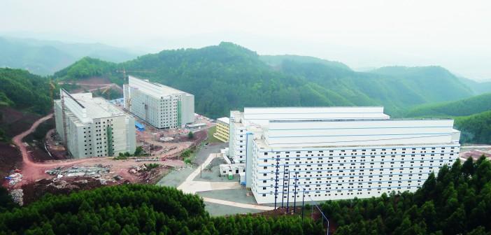 Guangxi Yangxiang's high-rise pig farm buildings are seen at Yaji Mountain Forest Park in Guangxi