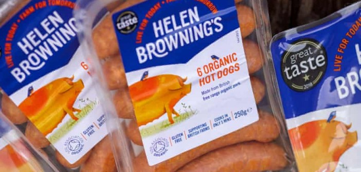 Helen Browning's Organic sausages  Photograph: Sam Frost/The Guardian