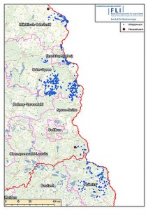 FLI  map showing first cases of ASF in domestic pigs in Germany in the Spree-Neisse and Märkisch-Oderland districts